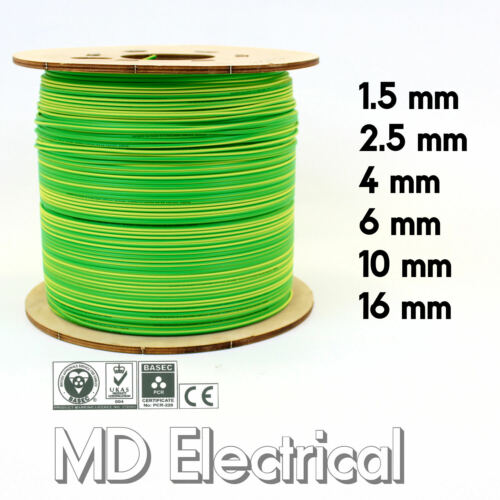Green Earthing Bonding Wire Single Core Conduit Cable 6491X Earth Yellow