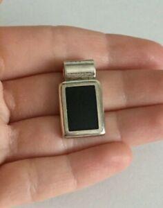 Vintage-ATI-Mexico-925-Sterling-Silver-Black-Onyx-Slide-Pendant