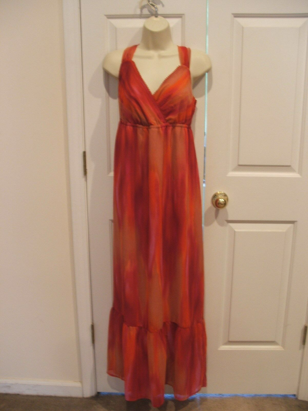 b6b163b25a0983 NWT a.n.a Streak Maxi Dress orange Red Size LARGE 14-16 Pink color ...