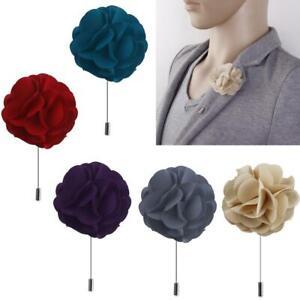 Handmade-Fabric-Lapel-Flower-Brooch-Boutonniere-Tuxedo-Stick-Pin-Wedding-Prom