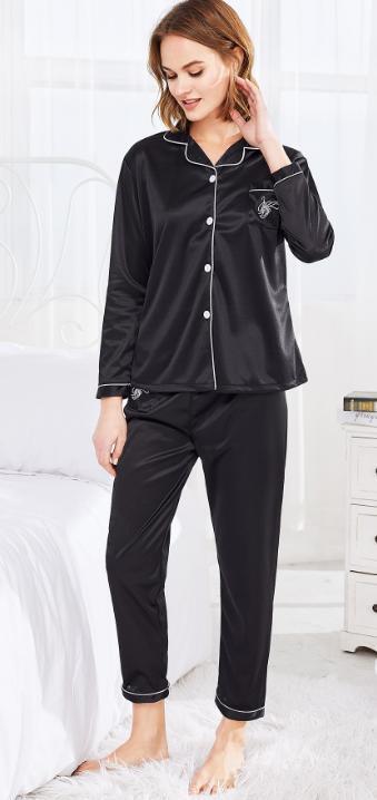 Black Satin PJ's Pajama Set. With Embroidery Logo size