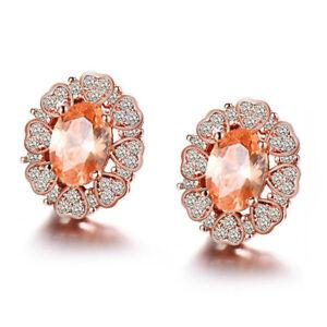 Flower-Shaped-Natural-Morganite-Gems-Rose-Gold-Plated-Woman-Stud-Hook-Earrings