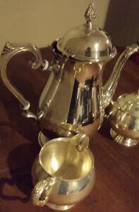 3 Pc Silverplate Teapot Creamer & Sugar Set by Leonard