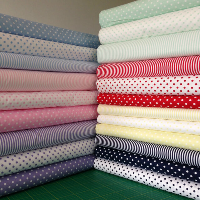 100% COTTON EXTRA WIDE 150cm FABRIC 3mm STRIPES 5mm POLKA DOT SPOTS 21 COLOURS