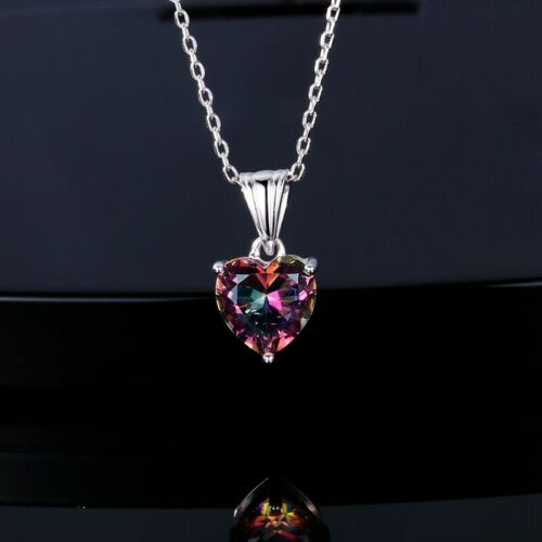 Precioso Plata 925 Topacio místico Rainbow AAA Amor Corazón Colgante Collar Joyería