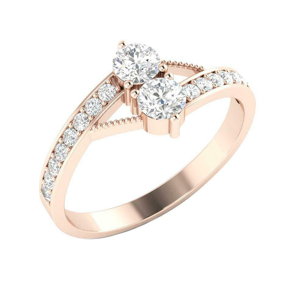 I1 G 0.80 Ct Round Diamond Forever Us 2 Stone Solitaire Engagement Ring 14K gold
