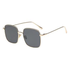 48fdaae478b Image is loading Polarized-Sunglasses-Square-Gold-Rim-Gray-Lenses-Myopia-