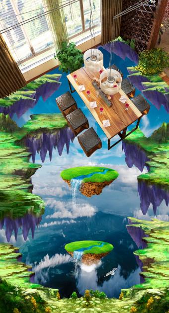 3D Grün Cliffs Sky 789 Floor WallPaper Murals Wall Print Decal AJ WALLPAPER US