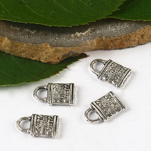 30Pcs Tibetan Silver Tone 2 faces motif Lock Design Charms H2677