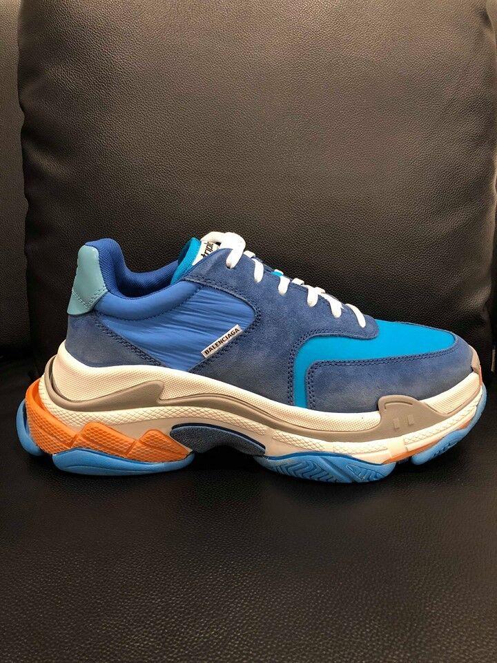 NIB Balenciaga Triple S Sneaker V2 bluee Nylon Speed Flat Trainers 45 Mens US 12