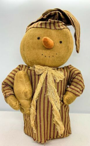 Details about  /Primitive//Country Lg Snowman Sitter w //GingerBread Buddy Red Ticking Christmas
