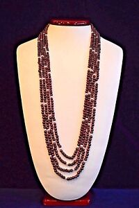 7db383e0ec26a Details about Four Strand Graduated Garnet Bead & Pearl Necklace