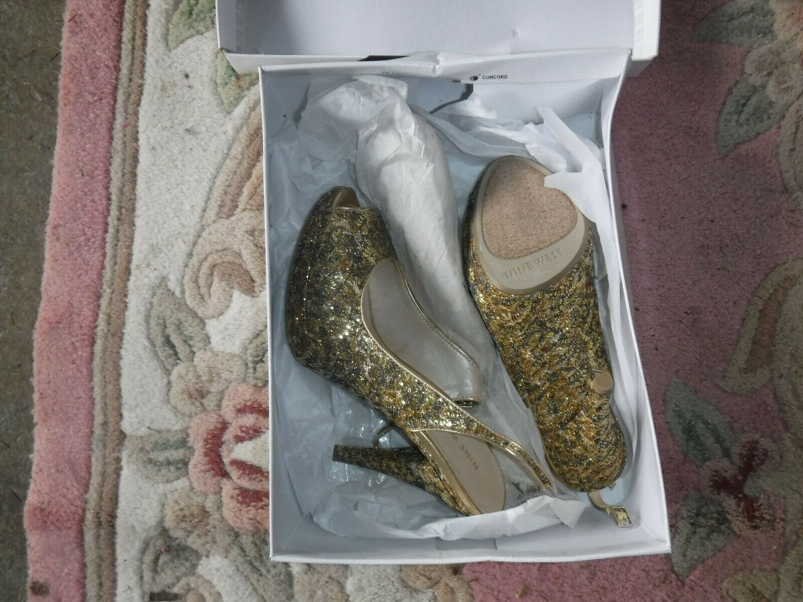 Vintage sz7 women's gold gold gold Silver Bronze Black meshed glittery camouflage heels f353c5