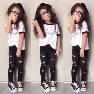 0f88edc82617 Toddler Kids Girl Tops T-shirt +Long Ripped Pants Leggings Outfits ...