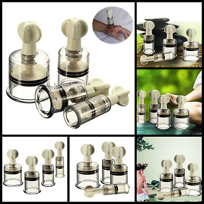 Set of 4 Cupping Jar Vacuum Anti Cellulite Massage Therapy Body Treatment Cups