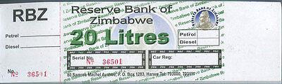 ZIMBABWE 20 LITRES RBZ PETROL GAS FUEL COUPON UNC