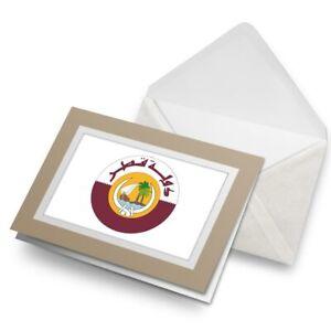 Greetings-Card-Biege-Qatar-Doha-Flag-Travel-Arab-5404