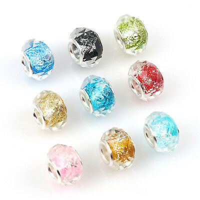 50PC Tibetan Alloy Rhinestone European Beads Faceted Rondelle Charms Silver 11mm