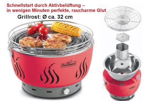 comme Lotus balcon NEUF Grill de table enfumés avec ventilation charbon de bois barbecue Florabest