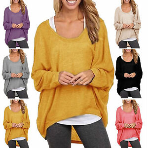 f67df550 Women Baggy Oversized Loose Fit Turn up Batwing Sleeve Ladies V Neck ...