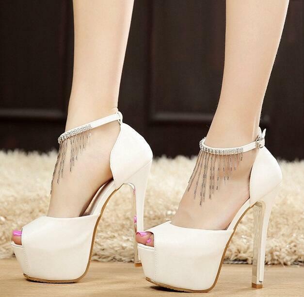PAMPILLES Strass Bride Cheville Bout Ouvert Talons Aiguilles Talon Haut chaussures Pointure Parti