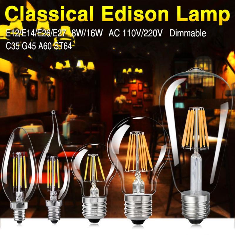 8W 16W Regulable Filamento Luz Estilo Antiguo Industrial E27 E14 Edison Bombilla