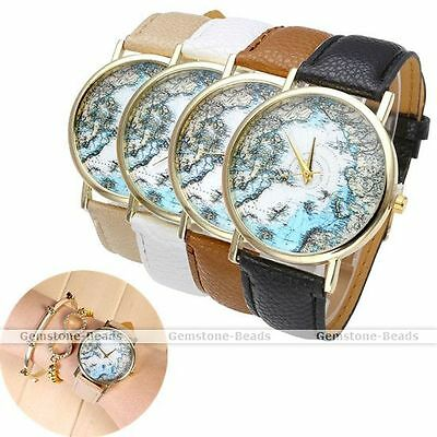 1x Mens Womens Ocean Sea Map Gold Case PU Leather Band Quartz Wrist Watch Gift