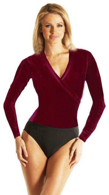 Carol Wior N4133 Long Sleeve Velvet Bodysuit with Inner Control Lining NWT