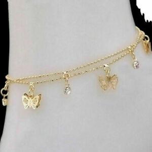 Farfalla-Oro-Cavigliera-Charm-oro-braccialetto-sandalo-a-piedi-nudi