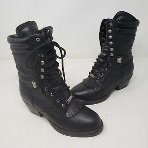 Womens-Double-H-Western-Black-Leather-Lace-Kiltie-Roper-Packer-Cowboy-Boots-7M
