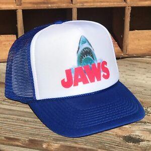 7c9c92bc0 Details about Jaws Movie Promo Trucker Hat Mesh Snapback Cap Blue Great  White Shark Cap