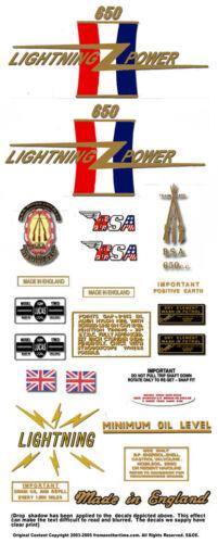 BSA A65 Lightning Decals FULL SETS All Models 1964-71