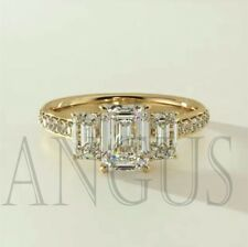 3.66Ct Emerald Cut Diamond Engagement Wedding Ring Solid 14K Yellow Gold