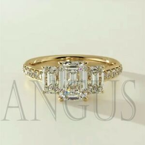 3 61ct Emerald Cut Diamond Engagement Wedding Ring Solid 14k Yellow Gold Ebay