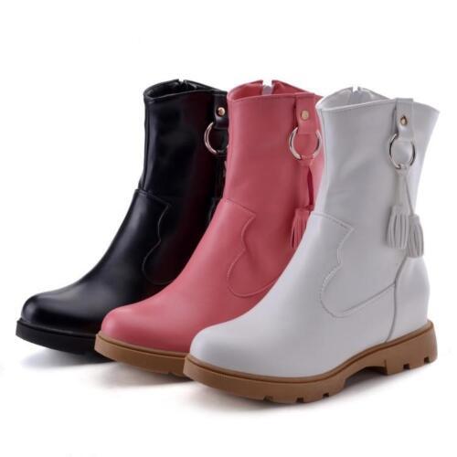 Women/'s lady tassels metalornament Back Zip Ankle boots casual Shoes plus size