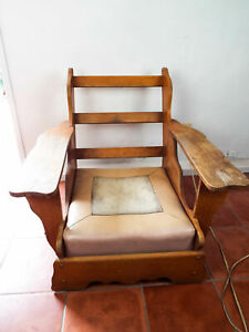 Terrific Details About Vintage 1940 50S Cushman Oak Paddle Arm Lounge Chair Craftsman Style Retro Lodge Caraccident5 Cool Chair Designs And Ideas Caraccident5Info