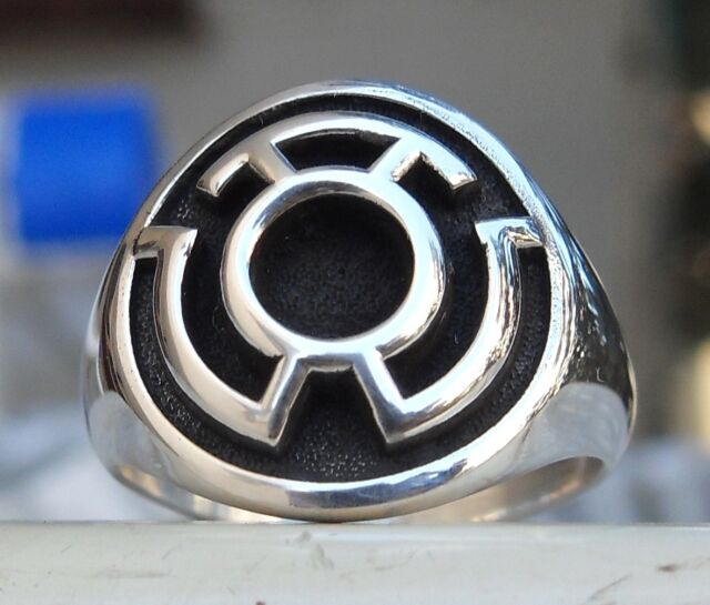 Solid Sterling Silver 925 Sinestro Corps Fear Green Lantern Ring All Sizes