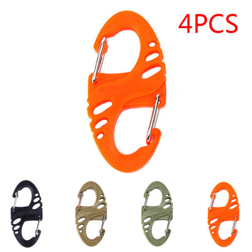 4x Camping Hiking Kettle Buckle Keyring Backpack Hanging Hook S-Shape Keychain