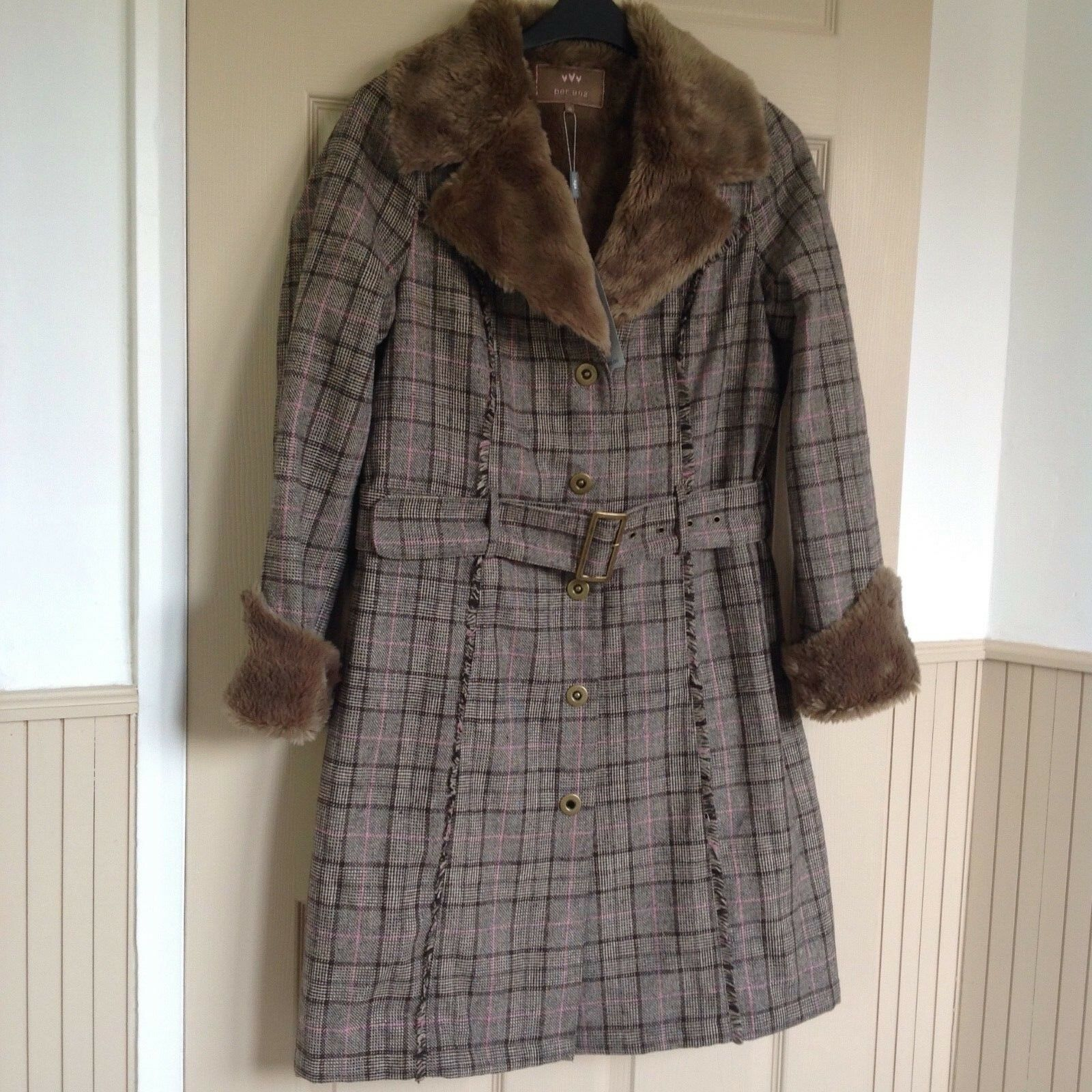 BNWT, PER UNA, COAT, SIZE M,BROWN MIX  WITH FAUX FUR COLLAR & CUFFS,50% WOOL