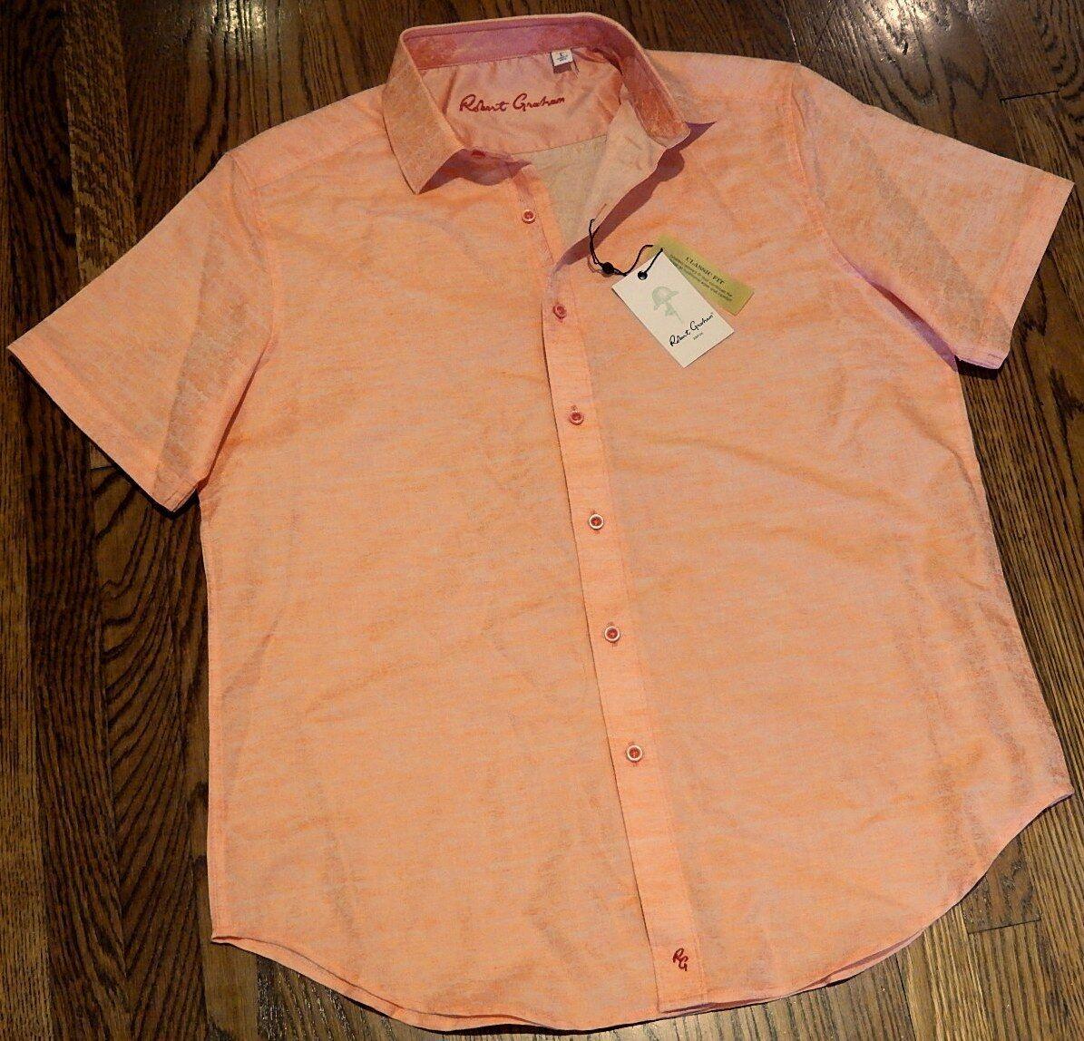 ROBERT GRAHAM MENS AUTHENTIC NEW orange DRESS SHIRT Size XL (EXTRA LARGE), NWT