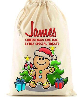 Beautiful Personalised Christmas Eve Gingerbread Man Santa Sack bag xmas
