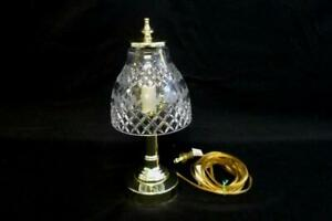 Brass-Desk-Table-Lamp-Clear-Glass-Shade-Etched-Leaf-and-Diamond-Pattern-Design