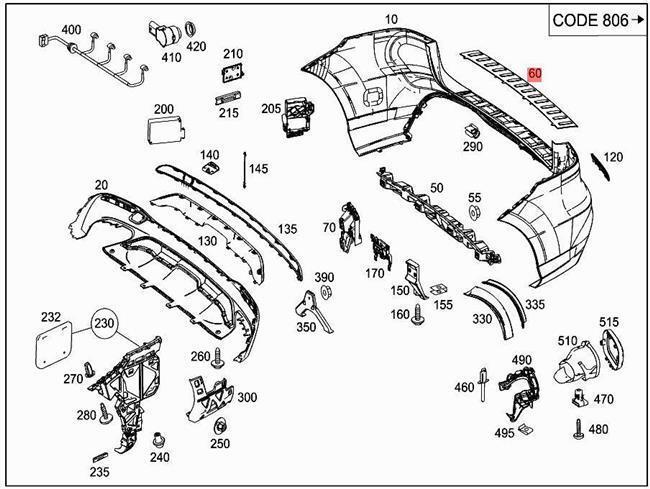 12 15 Mercedes Ml350 Ml 550 Ml63 Rear Bumper Step Plate Pad Chrome