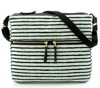 Fossil Erin Mint Green Black Stripe Crossbody $118 Messenger Purse Bag