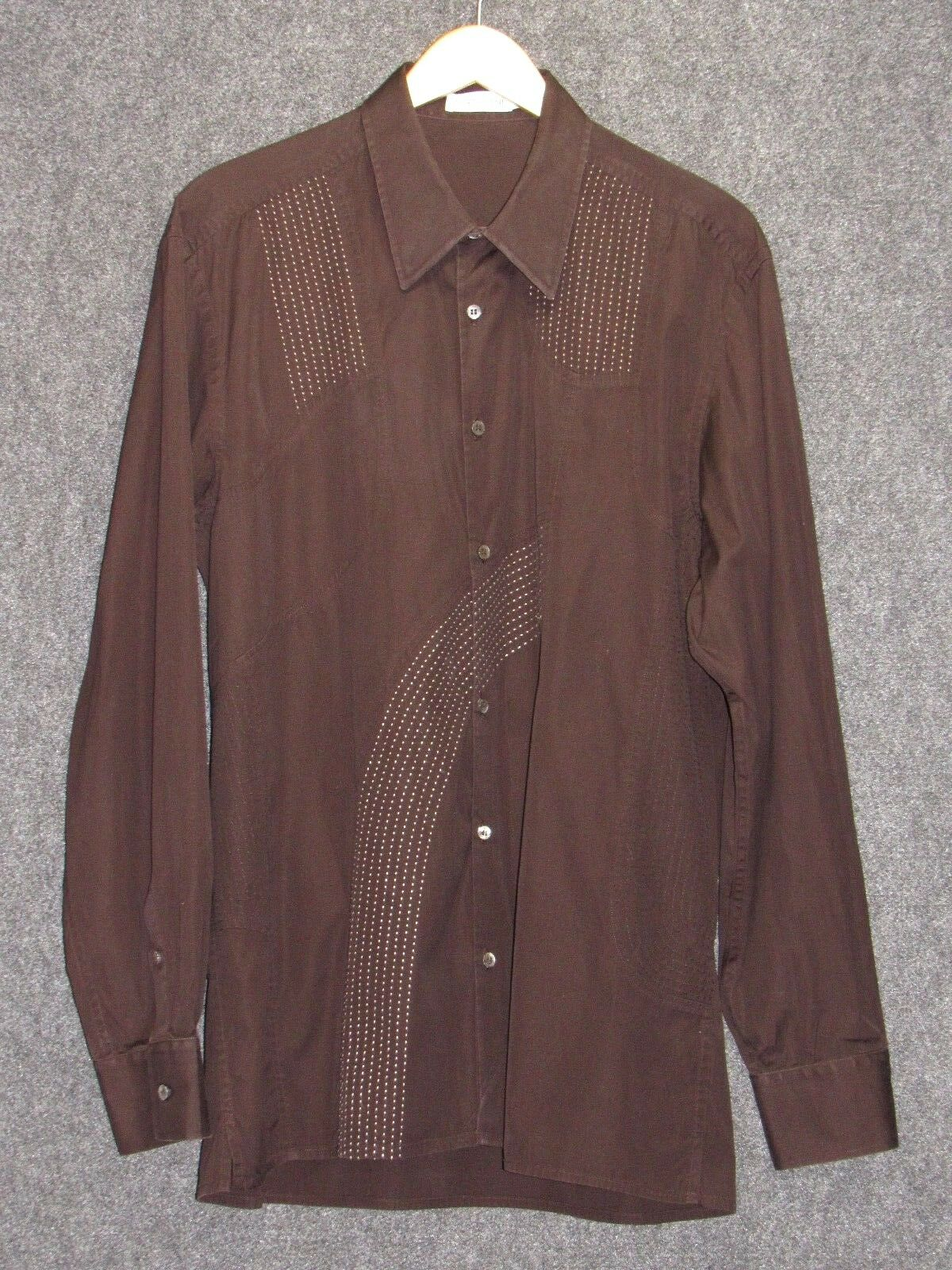 CORTIGIANI Brown Cotton Long Sleeves Mens Shirt SZ 56