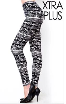 EXTRA PLUS TC2 Womens Red /& Black Plaid Print Soft Christmas Leggings Size 16-24