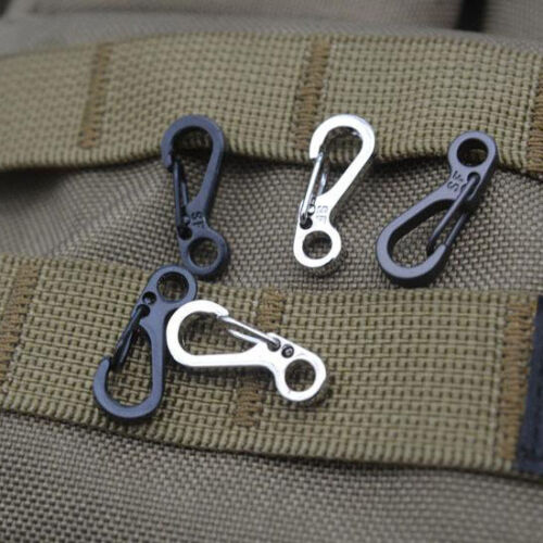 10PCS Silver Mini Carabiner EDC Snap Spring Clips Hook Survival SF Keyring Tool