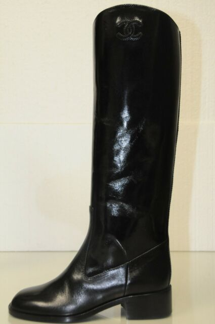 $1700 New 13K Chanel ASCOT CC logo Black Knee High Tall Riding Flat Boots Shoes