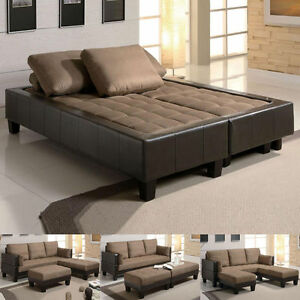 fulton tan microfiber convertible sofa bed couch sleeper 2 ottoman sectional set. Black Bedroom Furniture Sets. Home Design Ideas