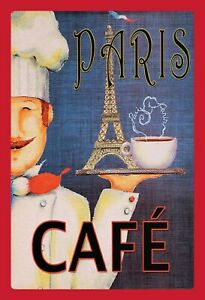 Paris-Cafe-Tour-Eiffel-Motif-2-Tole-Plaque-Etain-Signer-20-X-30-cm-FA0694